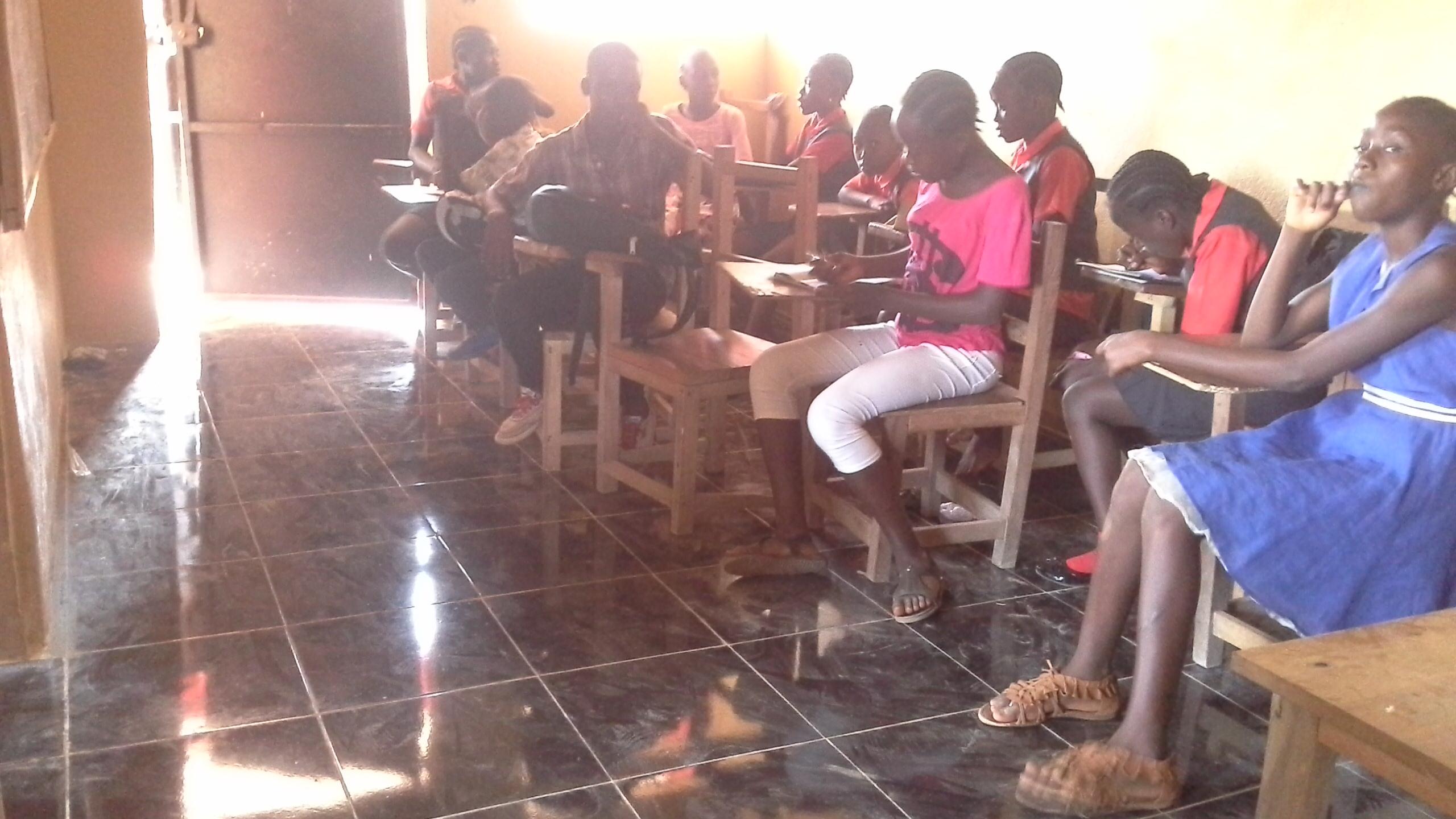 kids in school. tile floor